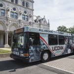 The UConn Ice Bus arrives at the State Capitol. (Nicki Steneri, GO Media, for UConn)