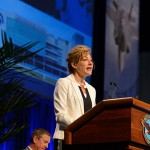 President Susan Herbst speaks at the ceremony naming of Pratt & Whitney Stadium at Rentchler Field held at Pratt & Whitney in East Hartford on July 16, 2015. (Peter Morenus/UConn Photo)