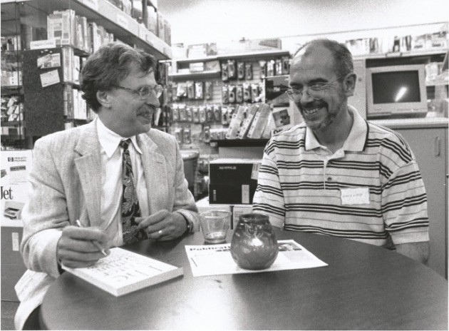 Lary Bloom, left, and Wally Lamb in 1997 at the book launch for Bloom's 'The Writer Within,' published by the UConn Co-op's Bibliopola Press. (Photo by Peter Crowley)