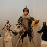 "Don Quixote and other figures (mixed media) from ""Master Peter's Puppet Show"" (2007) by Leslie Weinberg '88 MFA, part of ""The Work That Follows: 50 Years of UConn Puppeteers"" at the Ballard Institute and Museum of Puppetry. (Kenneth Best/UConn Photo)"