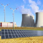 Industrial landscape with different energy resources. Sustainable development. (iStock Photo)