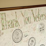 A framed thank you to veterans at the Oasis in the Student Union on Nov. 5, 2013. (Sean Flynn/UConn Photo)