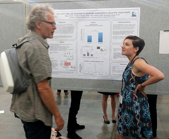 Allison Fitch '13 (CLAS) presents her work at the Annual Meeting of the Cognitive Science Society in Pasadena, Calif., in July 2015. (Photo courtesy of Allison Fitch)
