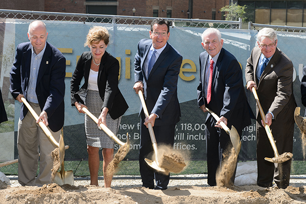 Rep. Gregg Haddad, President Susan Herbst, Governor Dannel Malloy, Chairman Larry McHugh and Rep, Tim Ackert and other dignitaries break ground for the Engineering & Science Building on Sept. 9, 2015. (Peter Morenus/UConn Photo)