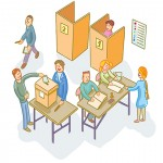 Illustration depicting election day at a polling station. (IStock Image)