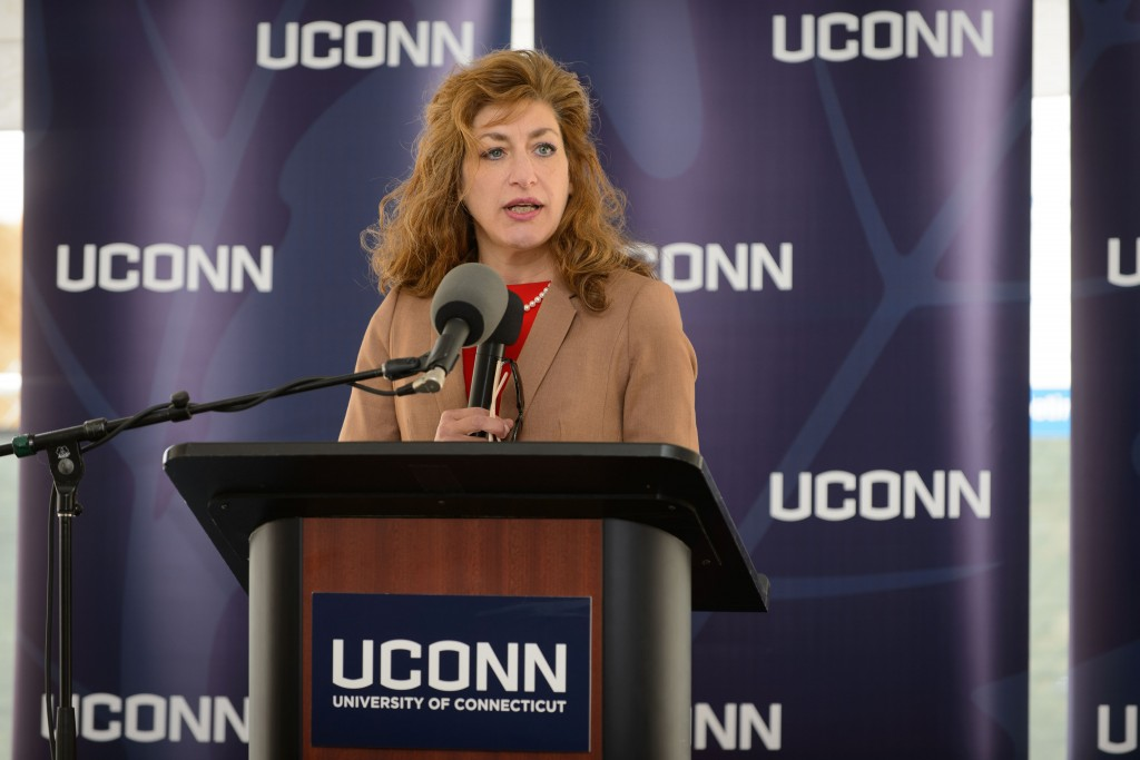 President Susan Herbst speaks at the groundbreaking ceremony for the Innovation Partnership Building on Oct. 14, 2015. (Peter Morenus/UConn Photo)