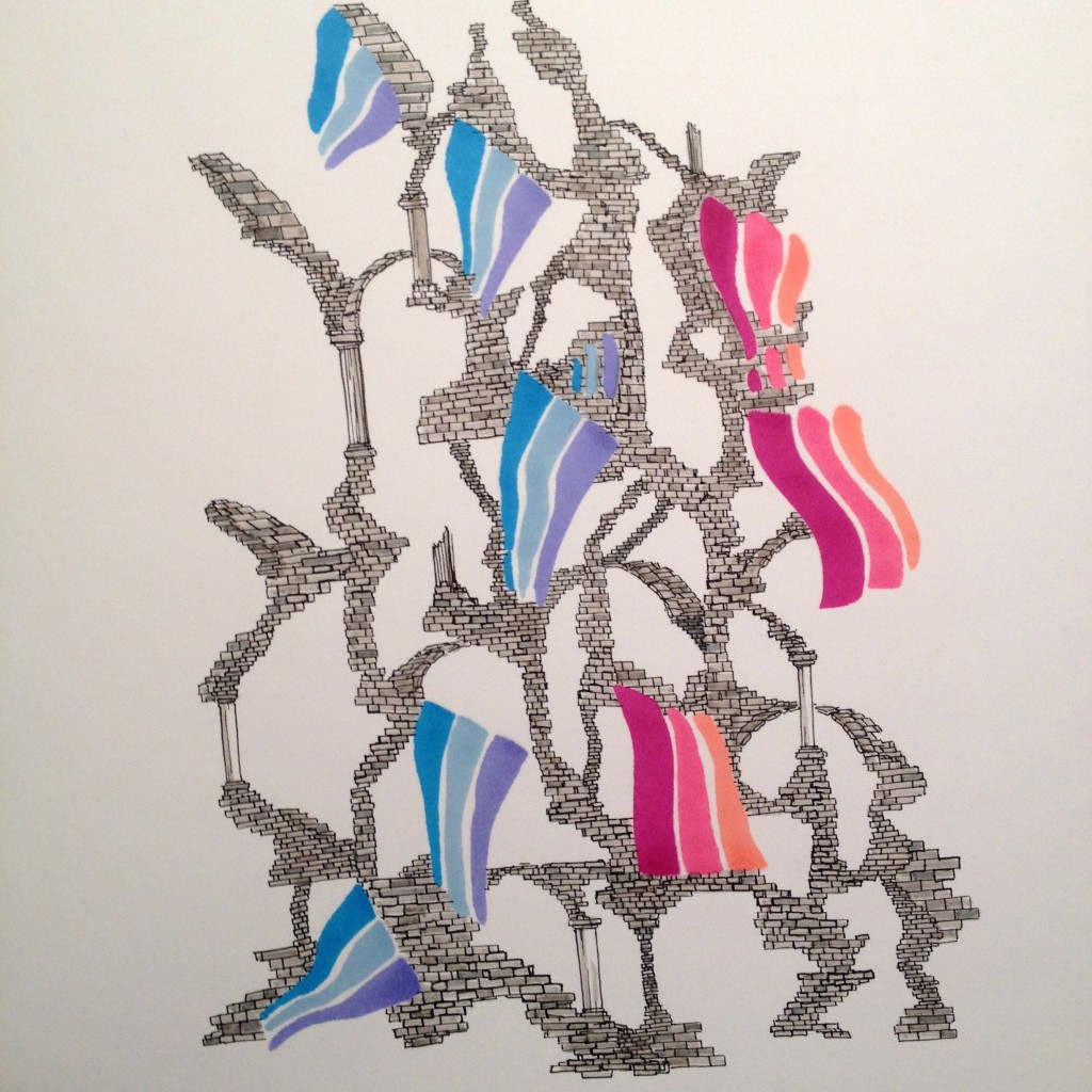 Rainbow Tower, 2015 - Pen and marker on Bristol board. (Courtesy of John O'Donnell)