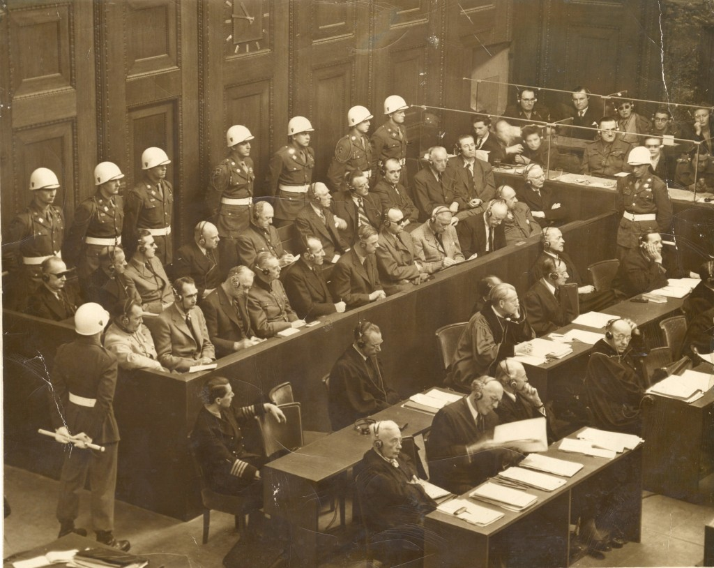 Defendants in the courtroom at the International Military Tribunal in Nuremberg. (Thomas J. Dodd Papers, Archives & Special Collections at the Thomas J. Dodd Research Center, University of Connecticut Libraries)