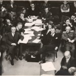 Thomas J. Dodd, front left, executive trial counsel, and Robert Jackson, front right, chief U.S. prosecutor and associate justice of the Supreme Court of the United States at the International Military Tribunal in Nuremberg. (Thomas J. Dodd Papers, Archives & Special Collections at the Thomas J. Dodd Research Center, University of Connecticut Libraries)