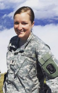 1st. LT. Krista Yaglowski '09 (BUS) at peak of Mt. Ljuboten (aka Mt. Duke) near her base in Kosovo.