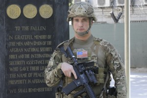 1st LT. Scott Yaglowski '12 (CLAS) at his base in Kabul, Afghanistan.