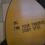 A chair desk illustrating January's UConn Bucket List item, Find Your Favorite Study Spot. (Elizabeth Caron/UConn Photo)