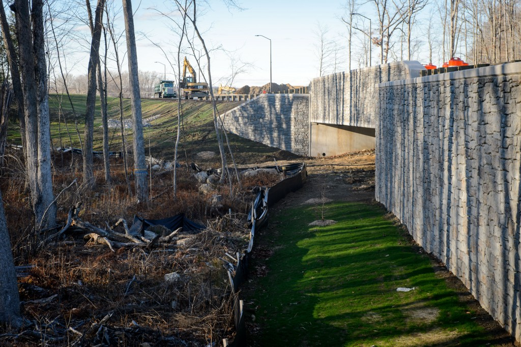 Walls and large culverts direct wildlife under Discovery Drive. Two of the three bridges are large enough for deer to pass through. (Peter Morenus/UConn Photo)