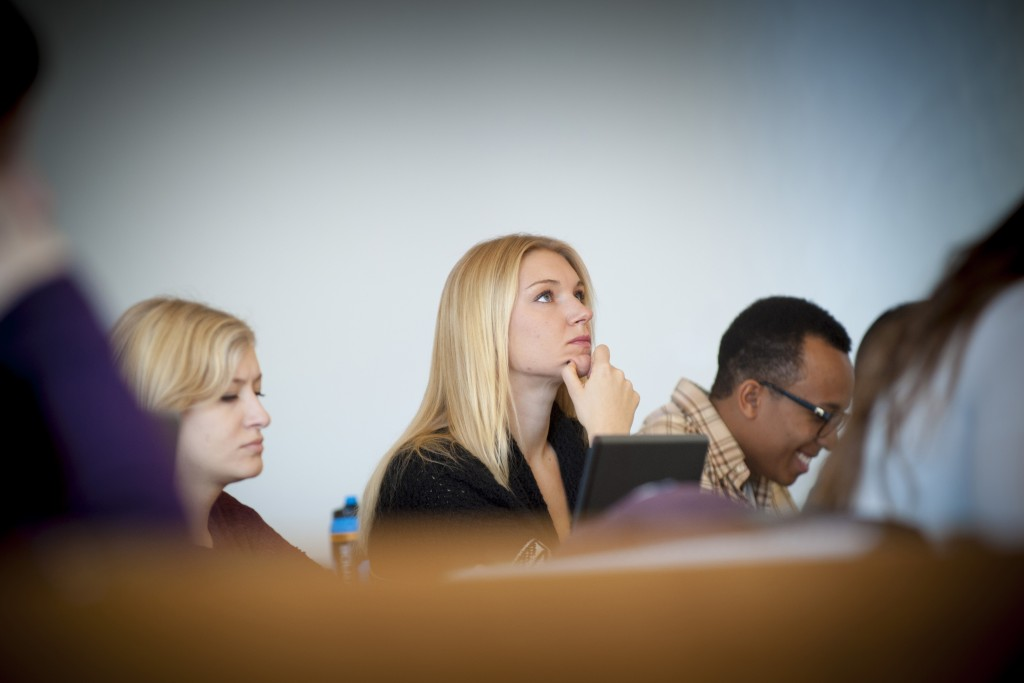 Student-athlete Laura Webster in class. (Sean Flynn/UConn Photo)
