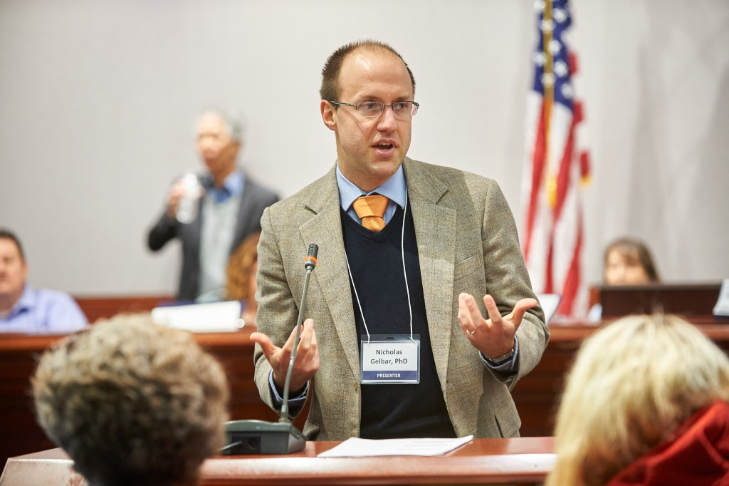 Nicholas Gelbar, research director of the Center for Excellence in Developmental Disabilities, speaks during a presentation on hands-off behavioral interventions held at the Legislative Office Building at the state Capitol on Jan. 27, 2016. (Peter Morenus/UConn Photo)
