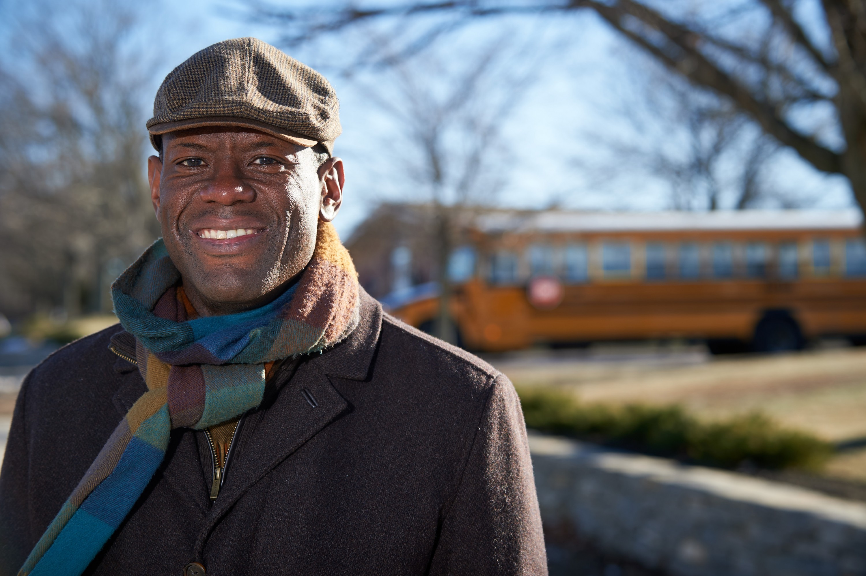 Preston Green, professor of educational leadership, stands near a school on Jan. 21, 2016. (Peter Morenus/UConn Photo)