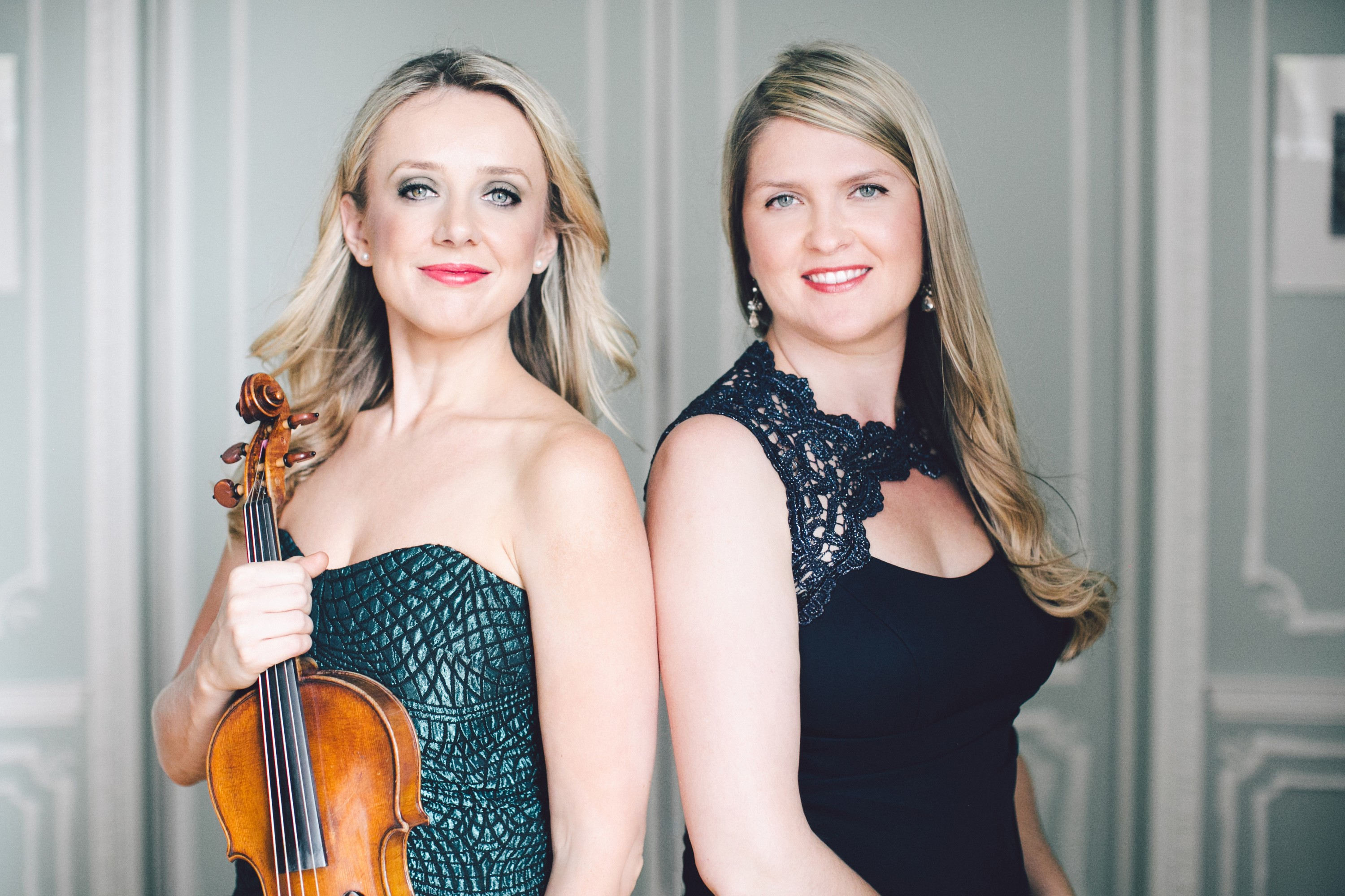 Solomiya Ivakhiv, left, assistant professor of violin and viola, and pianist Angelina Gadeliya. (Photo by Stephanie Brauer, Ukrainian Institute of America, NYC)