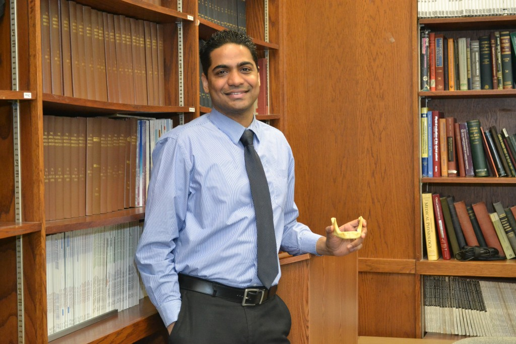 Dr. Avinash Bidra, UConn School of Dental Medicine and National chair of NPAW (National Prosthodontics Awareness Week) on March 18, 2014. (Sarah Turker/UConn Health Photo)