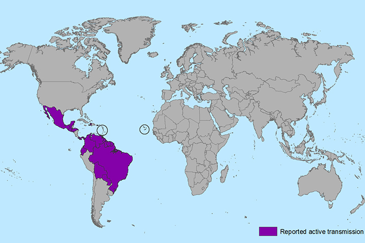 Map of reported active transmission of Zika virus. (Map source: CDC)