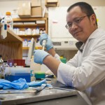 Professor Xiaohui Zhao in his lab on Jan. 29, 2016. (Sean Flynn/UConn Photo)