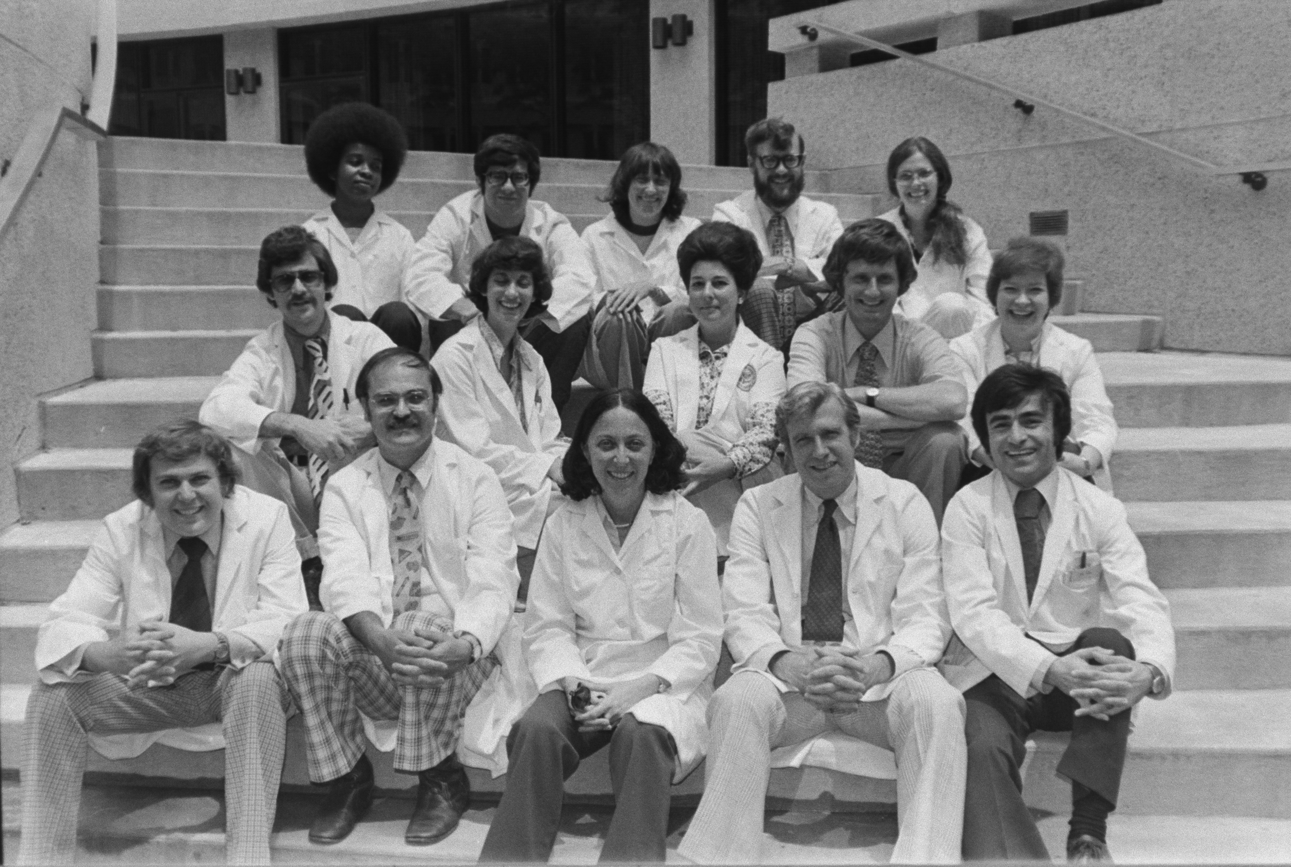 Rheumatologist Dr. Naomi Rothfield, front row center, with the first class of medical students at UConn Health, then known as the UConn Health Center.