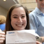A medical student celebrates Match Day 2016 at UConn Health. (Elizabeth Caron/UConn Photo)