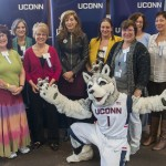 Back row from left, Aneesa Bey, Carol Millette, President Susan Herbst, Renee Boggis, Pat Moriarty, Melanie Kraus, front row, Hilarie Jones, Cindy Walsh, and Valerie Kiefer weree honored at the UConn Spirit Awards on March 8, 2016. (Sean Flynn/UConn Photo)