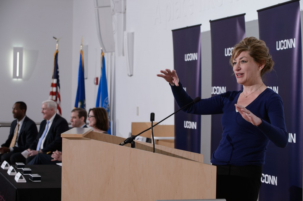 President Susan Herbst speaks during a ceremony held on April 21, 2016 at the Hartford Public Library to sign an agreement to host the new downtown UConn Hartford library there. (Peter Morenus/UConn Photo)