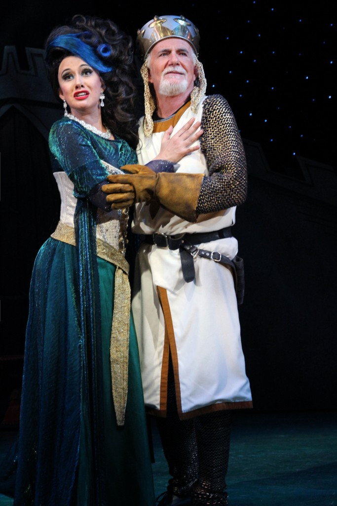 Mariand Torres (The Lady of the Lake) and Richard Kline (King Arthur) star in 'Monty Python's Spamalot,' onstage at Connecticut Repertory Theatre April 21-May 1, 2016. (Gerry Goodstein for UConn)