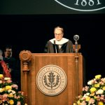 Radio and television commentator Charles Osgood delivers the 2016 UConn Health Commencement address. (Bret Eckhardt/UConn Photo)