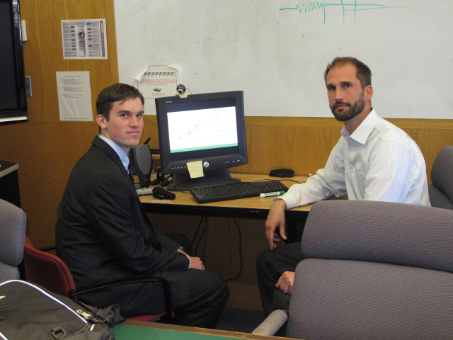 Master's student Brett Decker, left, and associate professor of civil and environmental engineering Nicholas Lownes. (Josh Garvey/UConn Photo)