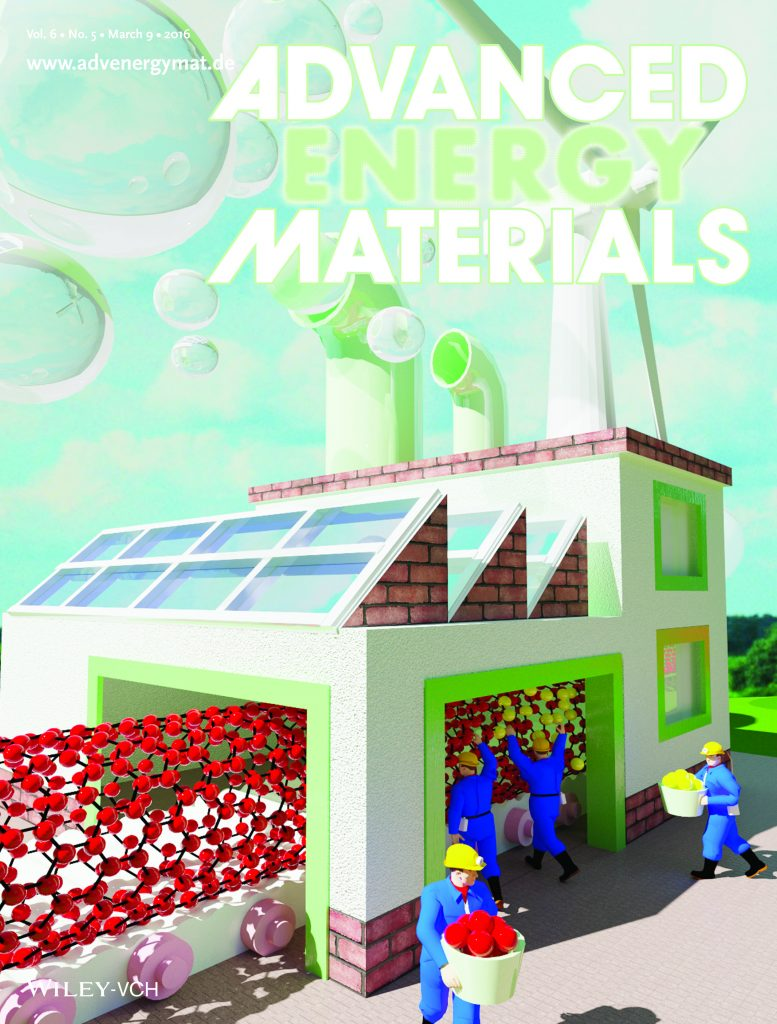 """Cover of the March 2016 Advanced Materials journal. (A.M. El-Sawy et al., """"Oxygen Reactions: Controlling the Active Sites of Sulfur-Doped Carbon Nanotube–Graphene Nanolobes for Highly Efficient Oxygen Evolution and Reduction Catalysis,"""" Advanced Energy Materials, 2016, Vol. 6, no. 5. © Wiley-VCH Verlag GmbH & Co. KGaA. Reproduced with permission.)"""