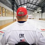 Steve Emt practices at the Norfolk Curling Club on Oct. 29, 2015. (Peter Morenus/UConn Photo)