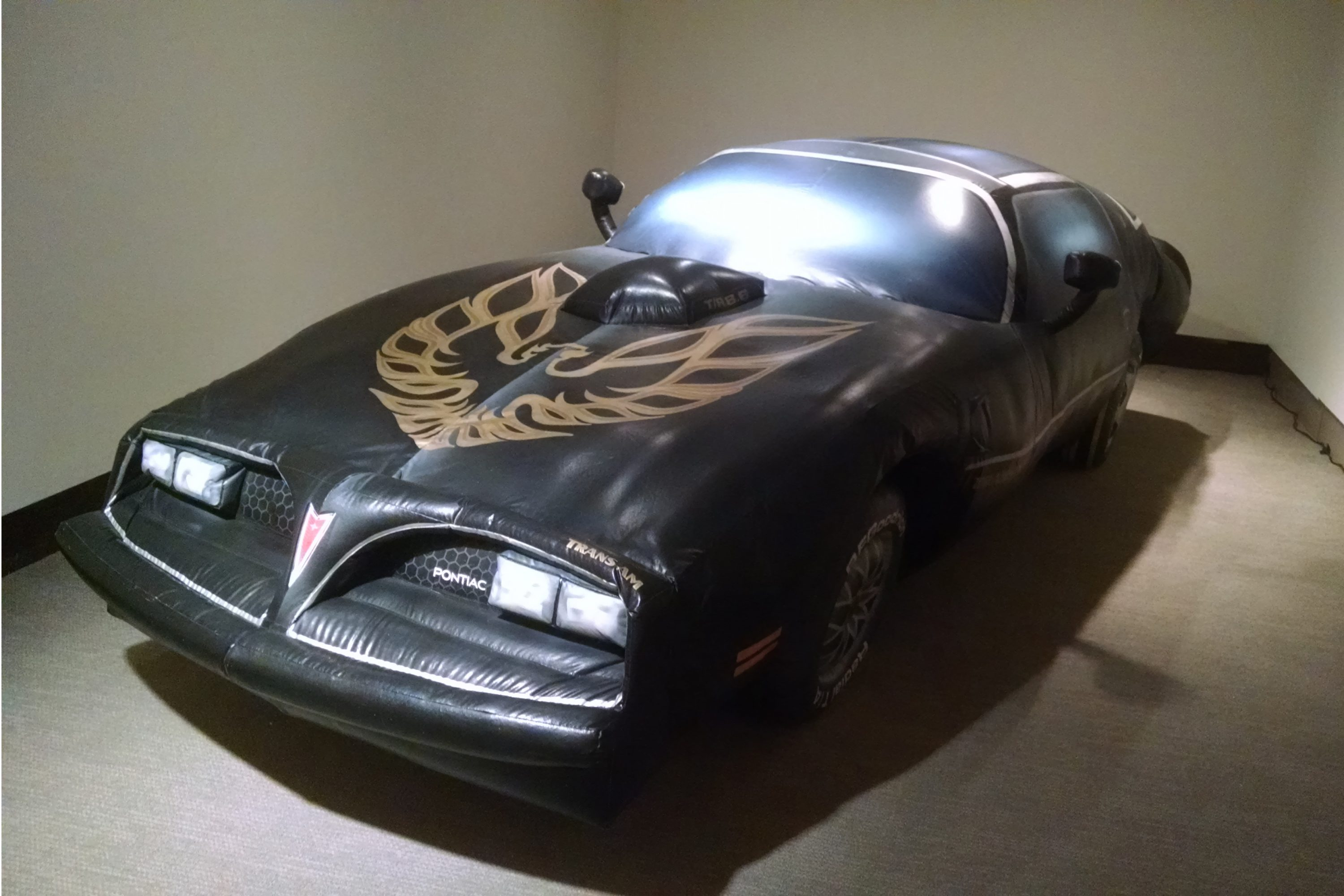 'Untitled' (1977 Smokey and the Bandit Trans Am replica), 1999, inflatable nylon and electric blower, by Guy Overfelt. (Ken Best/UConn Photo)