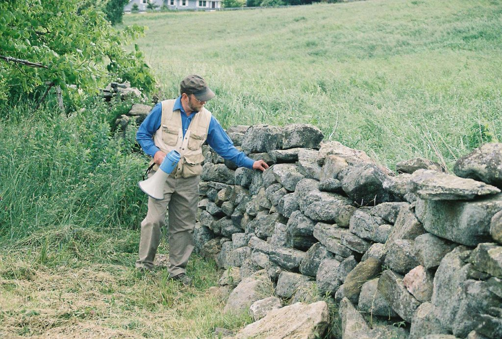 Geologist Robert Thorson examines a stone wall.