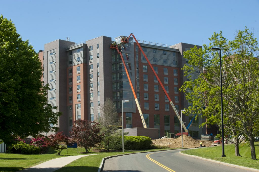 Construction of Next Generation Connecticut Hall is slated for completion in July, ready for students to move in at the end of August. (Sean Flynn/UConn Photo)