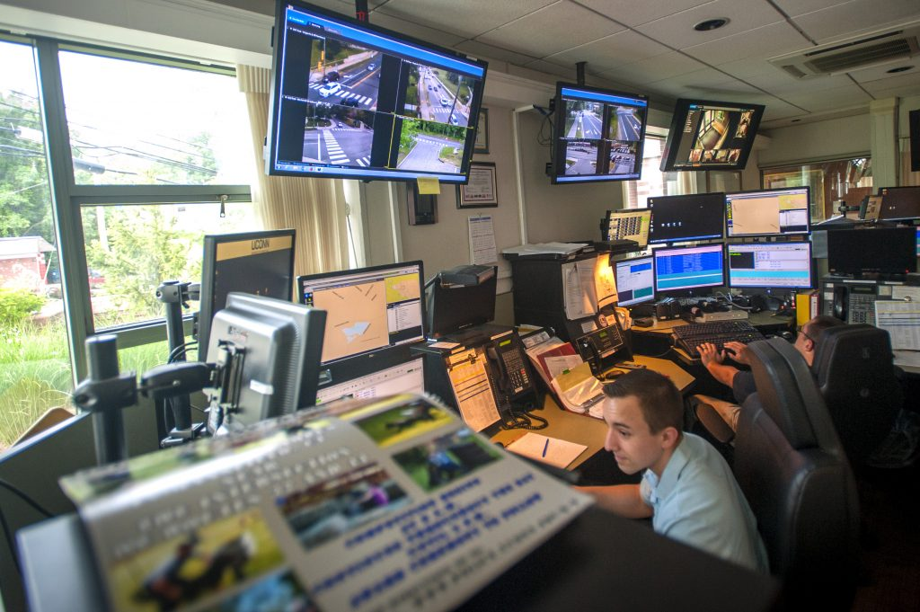 photo of the control room at the UConn Public Safety Police and Fire Station