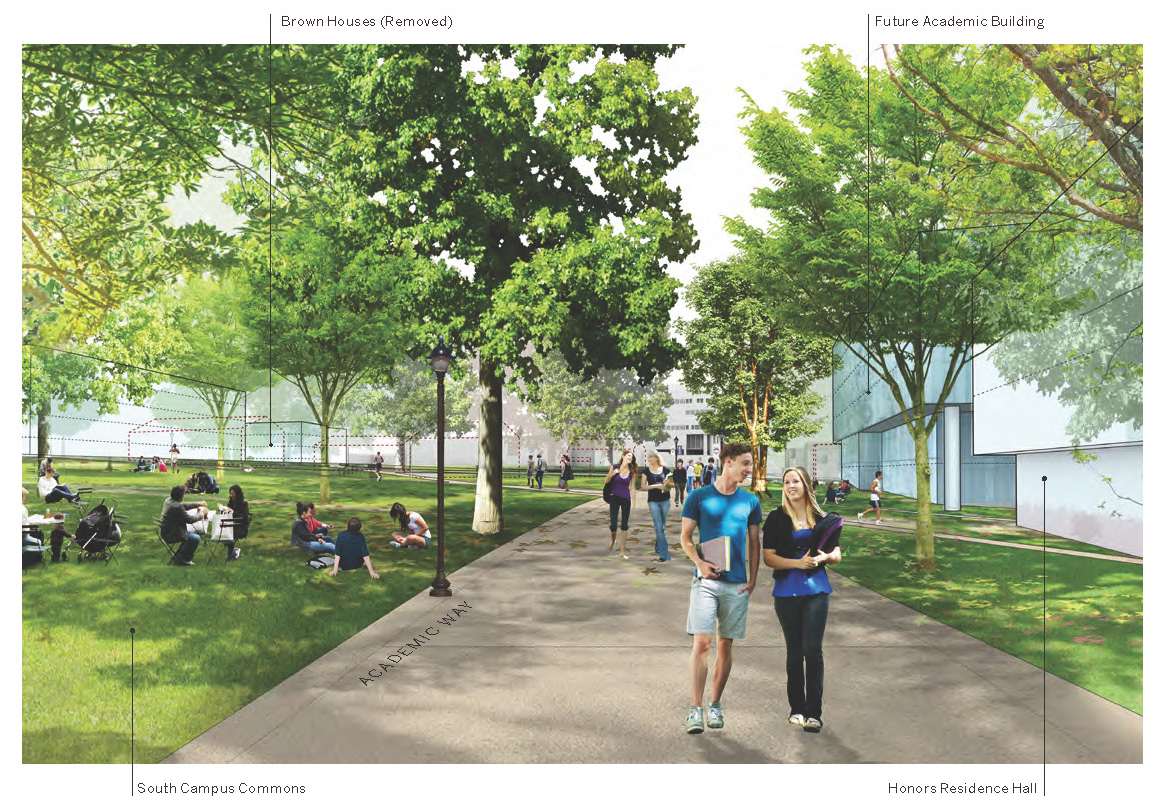 Artist's rendering of South Campus Commons, from the Campus Master Plan.