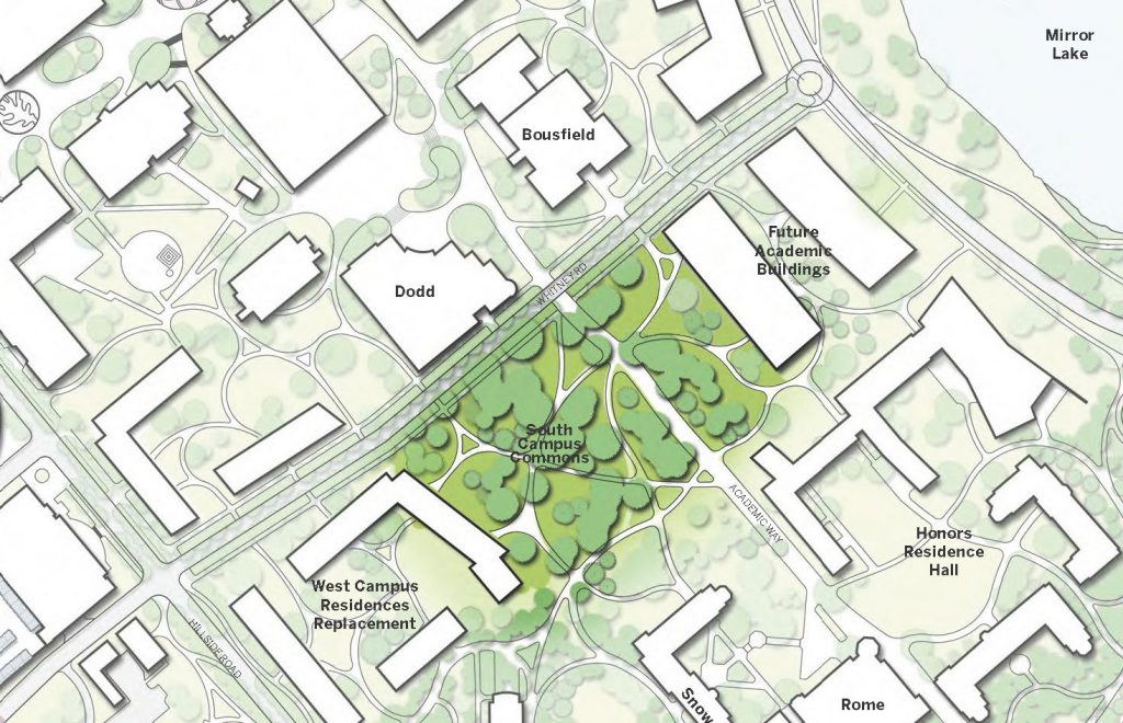 Graphic from the Campus Master Plan, showing the location of the South Campus Commons.