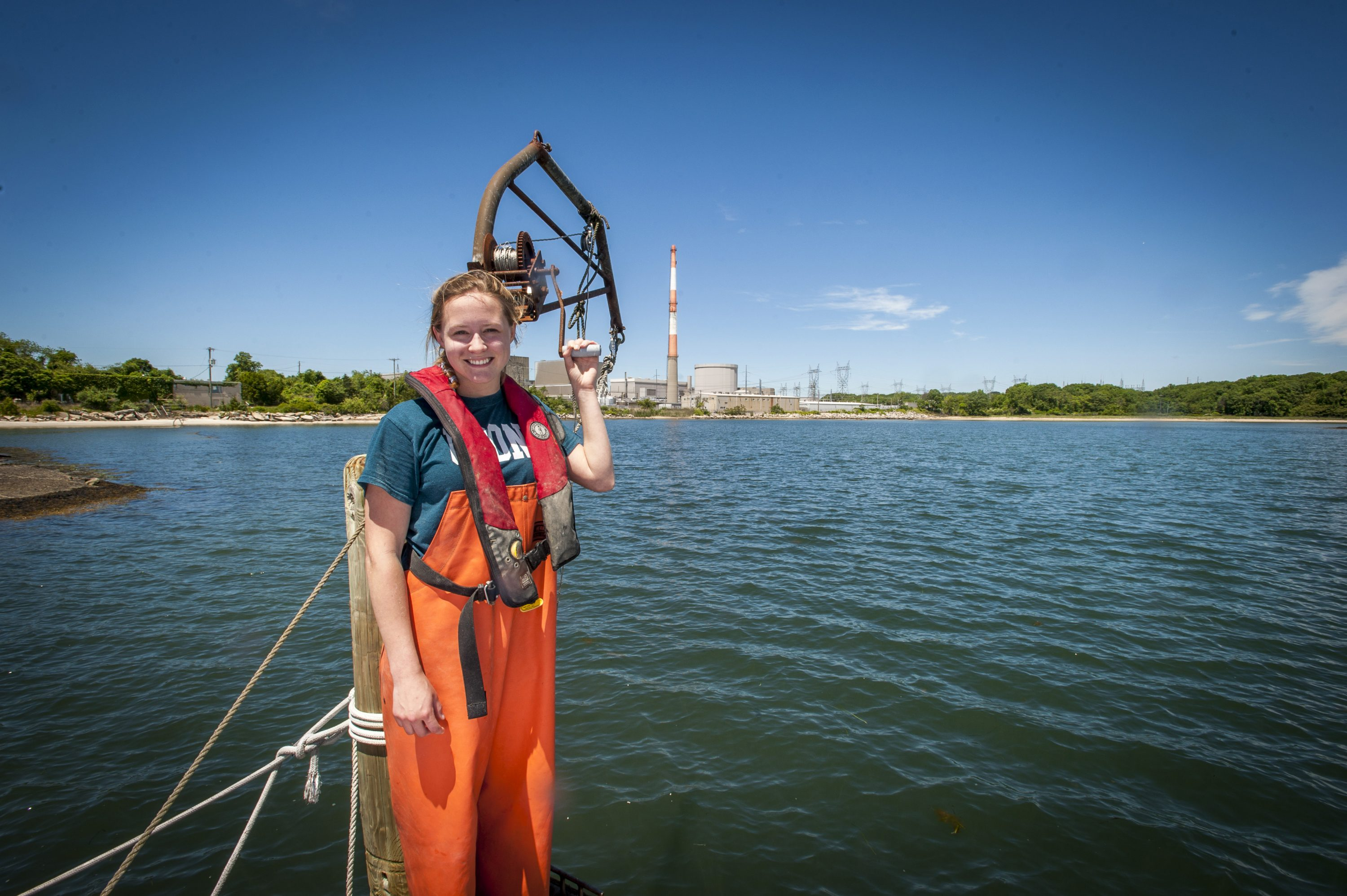 Environmental studies major Hannah Casey is gaining valuable work experience as an environmental monitor during an internship at the Millstone Nuclear Power Plant. (Sean Flynn/UConn Photo)