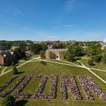 The Class of 2020 spells out UConn on the Great Lawn on Aug. 27, 2016. (Peter Morenus/UConn Photo)