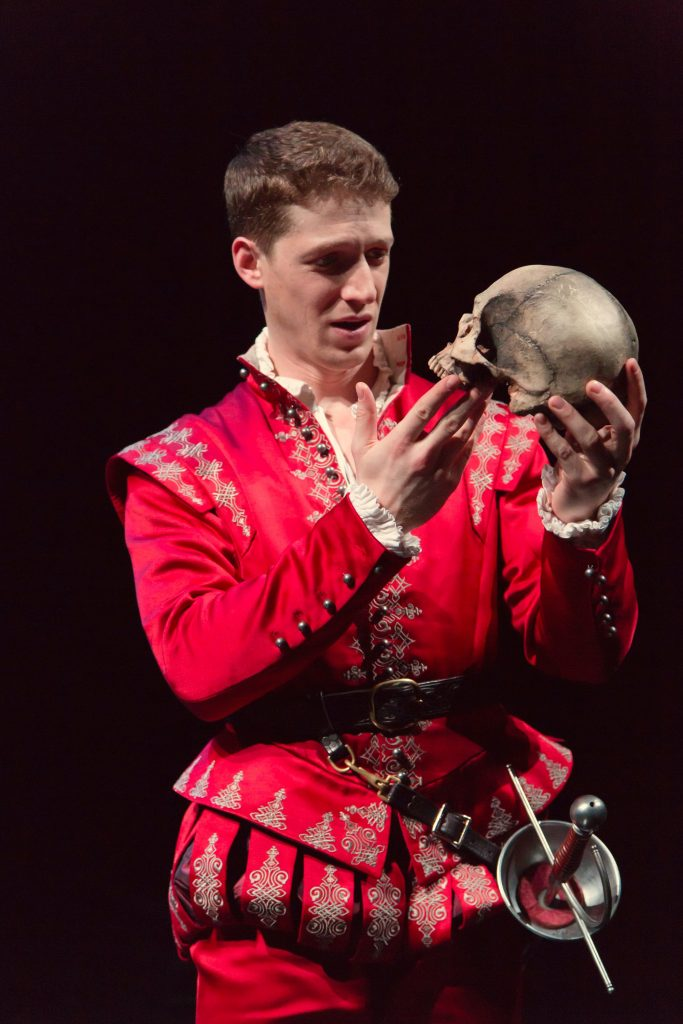 """Zach Appleman as Hamlet in the Hartford Stage production of """"Hamlet."""" The costume is part of the exhibition"""" """"First Folio! The book That Gave Us Shakespeare"""" at the Benton Museum of Art. (T. Charles Erickson Photo)"""