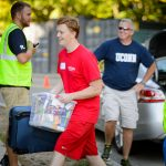 Husky Hauler Declan Hussey '18 (ENG) outside Oliver Ellsworth Hall on Aug. 28, 2015. (Peter Morenus/UConn Photo)