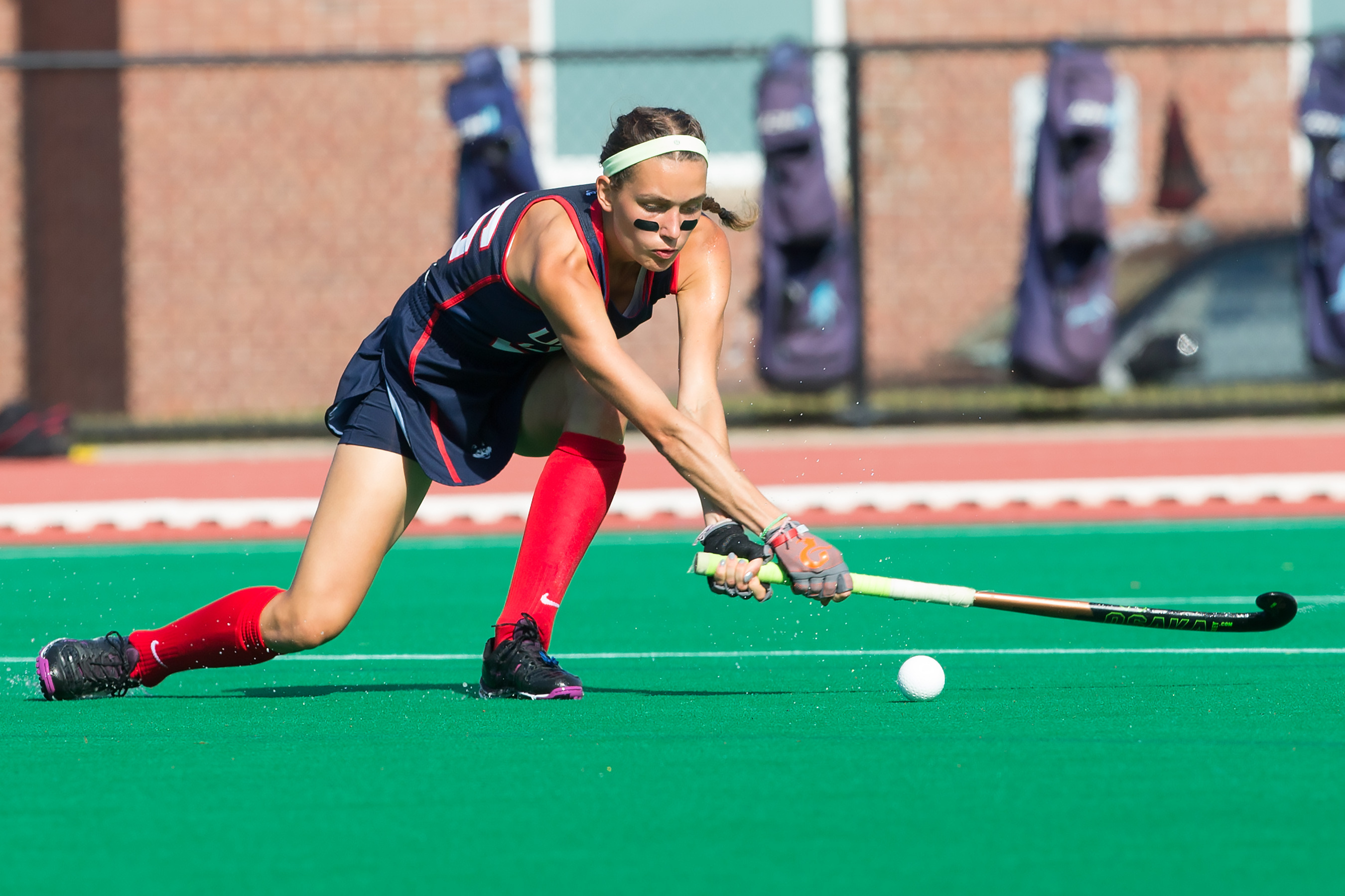 Junior Charlotte Veitner is tied for 2nd in UConn field hockey all-time points, and just 36 points away from overtaking the top point scorer in program history. (Stephen Slade '89 (SFA) for UConn)