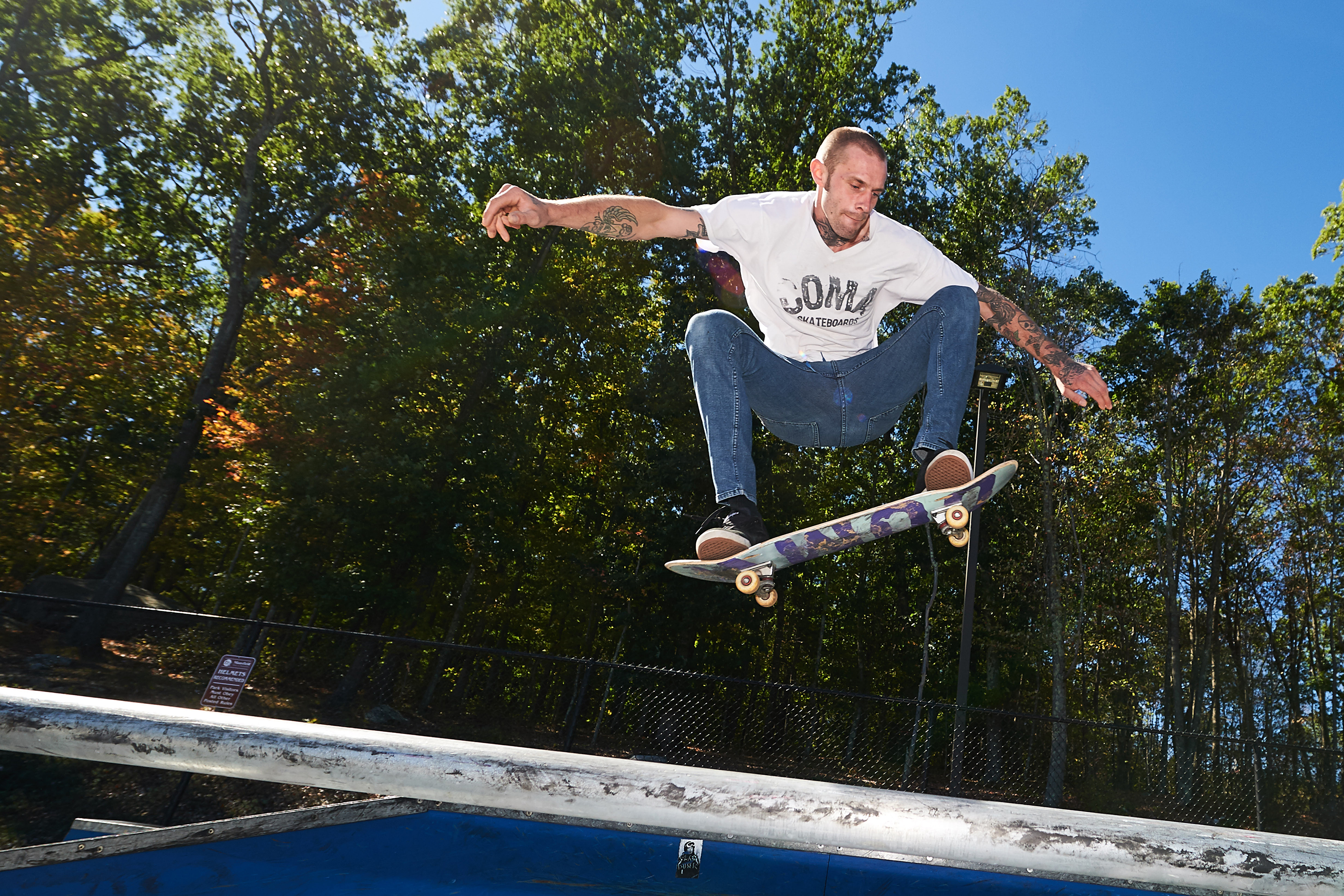 Bent Cordy rides one of his COMA skateboards at the Mansfield Skate Park on Sept. 25, 2016. (Peter Morenus/UConn Photo)