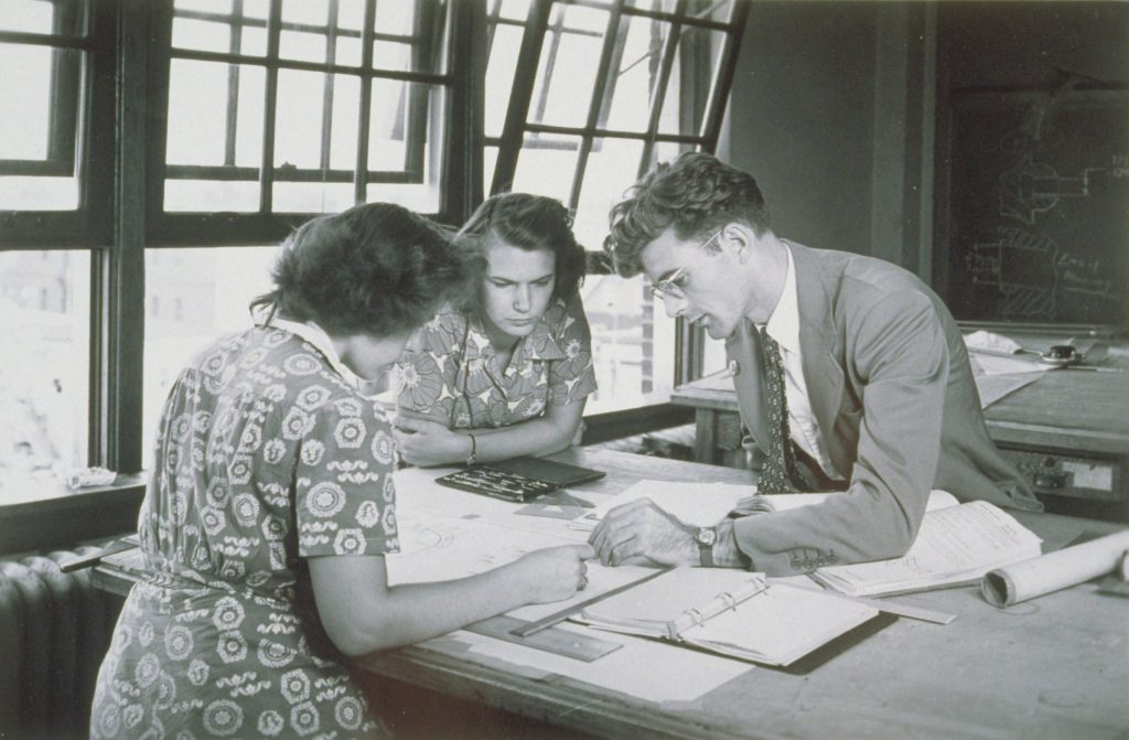 Drafting Students, Hartford Extension Center, University of Connecticut. (Archives & Special Collections, UConn Library)