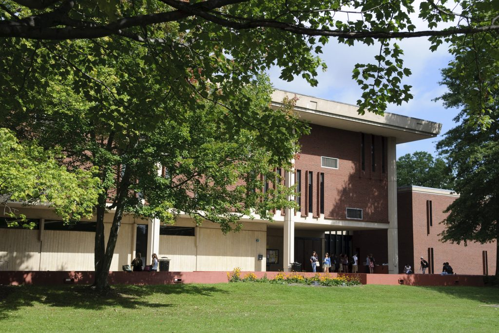 A view of the Undergraduate Classroom Building at the West Hartford Campus.