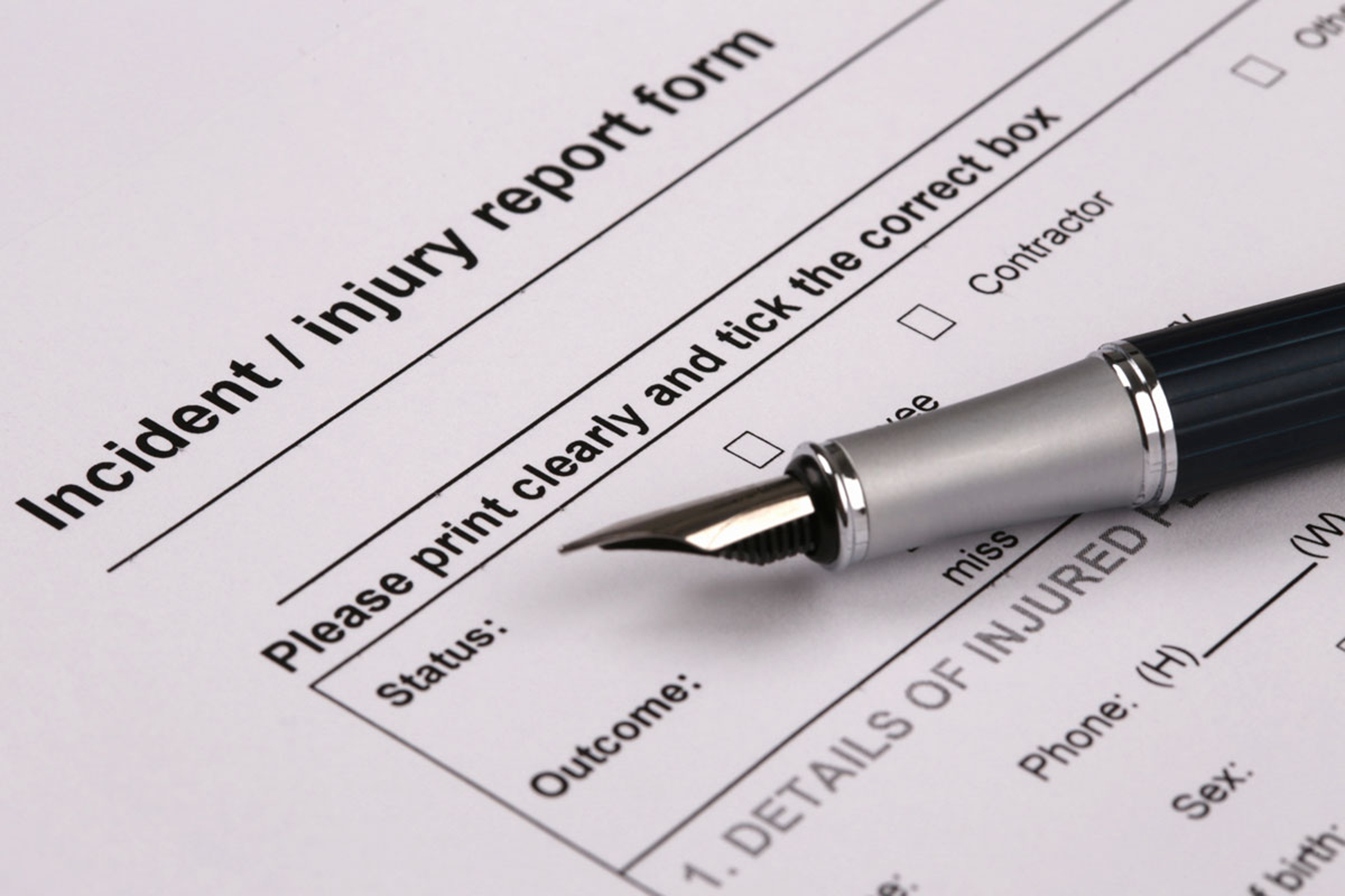 Incident/injury report form. (Shutterstock Photo)
