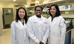 The three biomedical science Ph.D. students from UConn Graduate School selected by the NIH for translational research training were Huakang Huang, Denisse Tafur and Dinesh Babu Uthaya Kumar (UConn Health/Janine Gelineau).