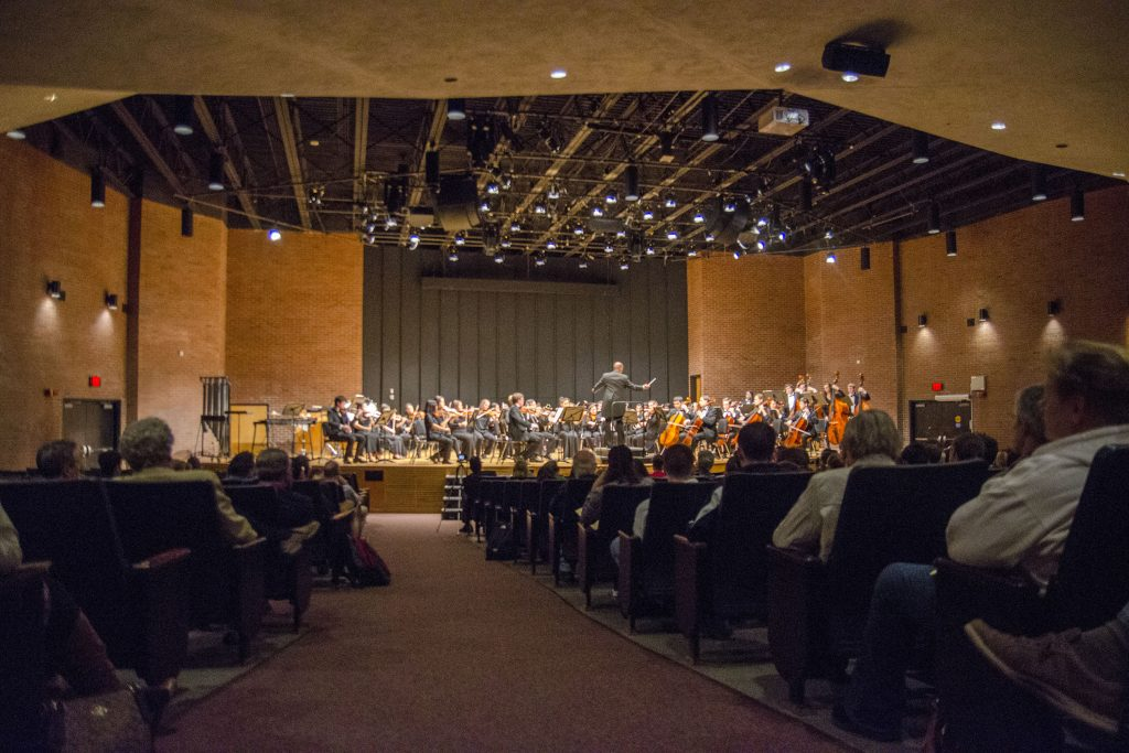 The UConn Symphony Orchestra, led by conductor Harvey Felder, performs at von der Mehden Recital Hall on Oct. 20. Next week, the orchestra will launch a series of performances at regional campuses by various music ensembles with a performance in Stamford. (Garrett Spahn/UConn Photo)
